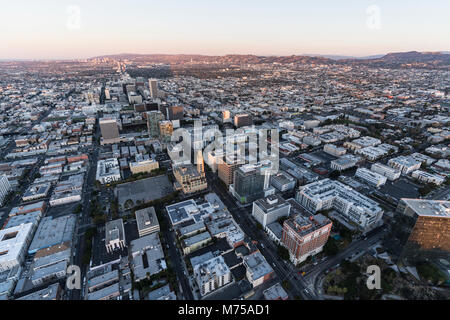 Early morning aerial view down Wilshire Blvd in the Koreatown area of Los Angeles California. - Stock Photo