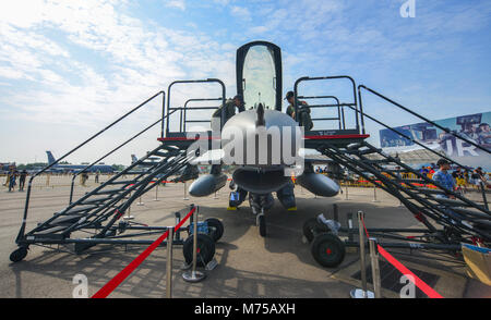 Singapore - Feb 10, 2018. A Lockheed Martin F-16 Fighting Falcon fighter aircraft of Singapore Air Force (RSAF) - Stock Photo