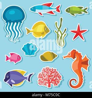 Marine life set of sticker, objects and sea animals - Stock Photo