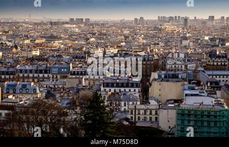 Paris (75) 18e arr, view of the roofs of Paris from the Butte Montmartre. Ile de France. France - Stock Photo