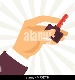 Illustration of hand holding key in flat style - Stock Photo