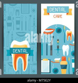 Medical banners design with dental icons. - Stock Photo