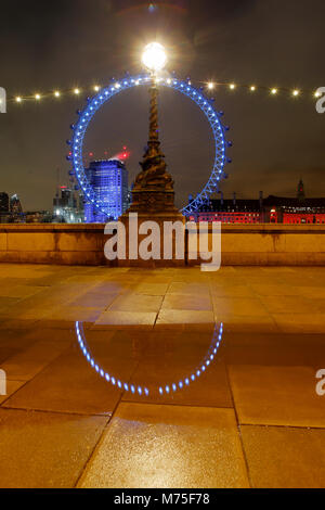 The London Eye, Thames South Bank near Westminster - Stock Photo