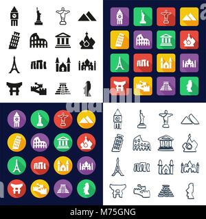 Landmarks Of The World All in One Icons Black & White Color Flat Design Freehand Set - Stock Photo