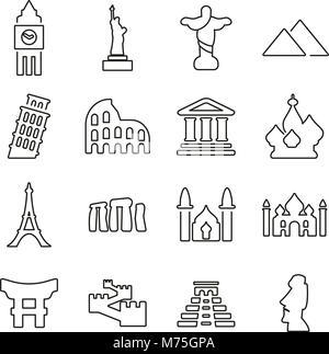 Landmarks Of The World Icons Thin Line Vector Illustration Set - Stock Photo