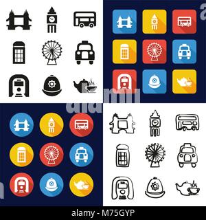 London All in One Icons Black & White Color Flat Design Freehand Set - Stock Photo
