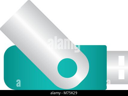 Teal USB over white background vector illustration - Stock Photo