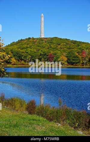 Veterans monument overlooking Lake Marcia at High Point State Park in Montague, New Jersey, the highest elevation - Stock Photo