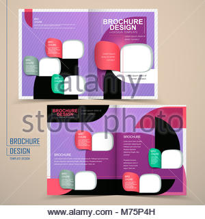 Modern Colorful Halffold Brochure Template Design With Circle - Half fold brochure template