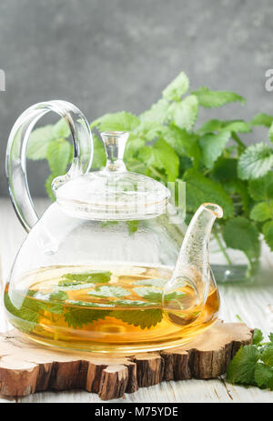 Herbal tea in a transparent teapot on the table and sprigs of fresh Melissa (lemon balm) and mint. Selective focus - Stock Photo