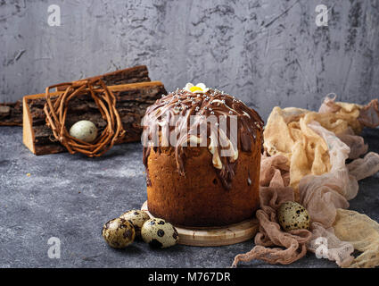 Traditional Easter cake with topping  - Stock Photo