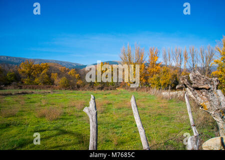 Autumnal landscape. Sierra de Guadarrama National Park, Rascafria, Madrid province, Spain. - Stock Photo