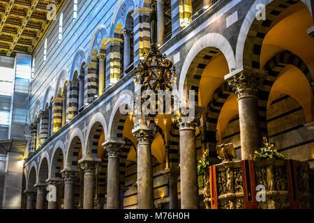 The gothic interior of the Santa Maria Assunta Cathedral Duomo or Pisa Italy in Tuscany - Stock Photo