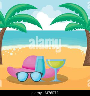 Beach with cocktail drink and glasses, colorful design. vector illustration - Stock Photo