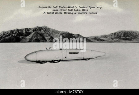 Salt Lake City UT - Bonneville Salt Flats--World's Fastest Speedway, near Great Salt Lake, Utah. A... (NBY 430497) - Stock Photo