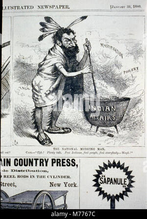 The national medicine man (caricature of Carl Schurz, dressed as an Indian, stirring pot 'Indian affairs' and saying, - Stock Photo