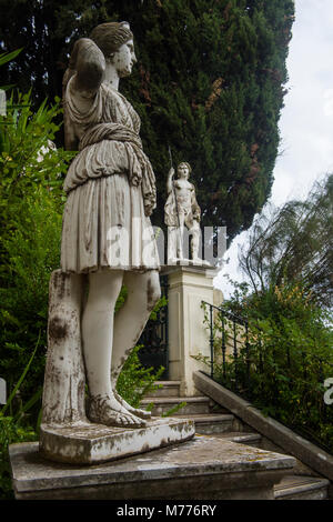 Classical statue in the Achilleion Palace, old town of Corfu, Ionian Islands, Greek Islands, Greece, Europe - Stock Photo