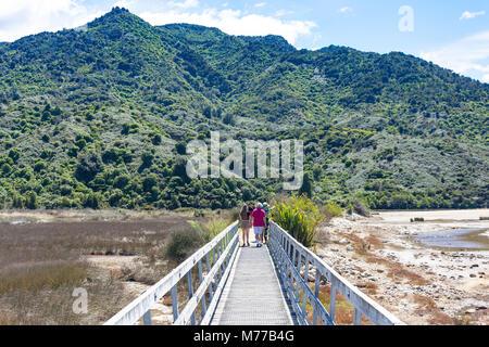 Entrance to Coastal Track Walkway, Abel Tasman National Park, Marahau, Tasman Bay, Tasman District, New Zealand - Stock Photo