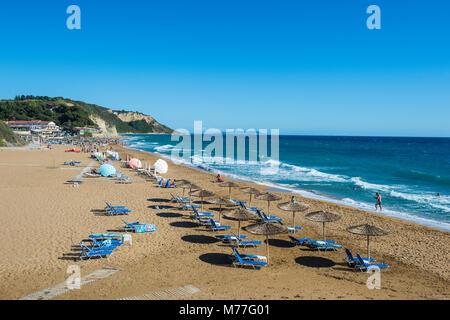 The beach of Argios Georgios, Corfu, Ionian Islands, Greek Islands, Greece, Europe - Stock Photo