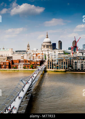 St. Paul's Cathedral and Millennium Bridge from the Tate Gallery, London, England, United Kingdom, Europe - Stock Photo
