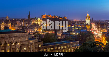 City centre panorama, Edinburgh castle and city skyline at night, Edinburgh, Midlothian, Scotland, United Kingdom, - Stock Photo
