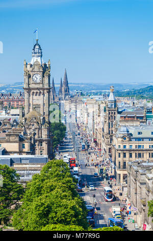 Busy traffic on Princes Street, city centre and Edinburgh skyline, Edinburgh, Midlothian, Scotland, United Kingdom, - Stock Photo