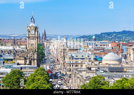Busy traffic on Princes Street, Edinburgh city centre and skyline, Edinburgh, Midlothian, Scotland, United Kingdom, - Stock Photo