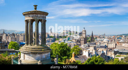 Dugald Stewart Monument, city centre and Edinburgh skyline panorama, Calton Hill, Edinburgh, Midlothian, Scotland, - Stock Photo