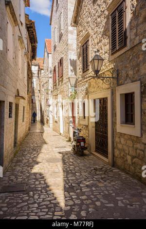 Narrow streets, Trogir Old Town, UNESCO World Heritage Site, Croatia, Europe - Stock Photo