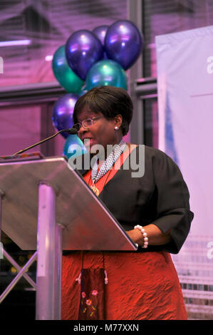 London, UK. 8th March, 2018. Jennette Arnold OBE AM speaking at a reception event in London's City Hall to celebrate - Stock Photo