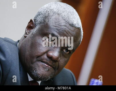 Addis Ababa, Ethiopia. 09th Mar, 2018. ADDIS ABABA, ETHIOPIA - MARCH 9, 2018: Chairman of the African Union Commission, - Stock Photo