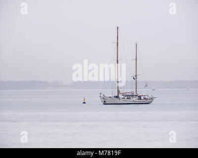 Sheerness, Kent, UK. 9th March, 2018. UK Weather: an overcast and calm morning in Sheerness. The Belgium twin masted - Stock Photo