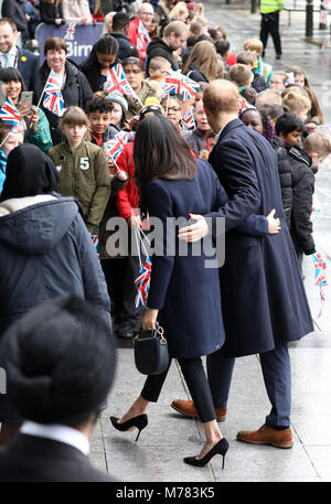 Birmingham, UK. 08th Mar, 2018. Prince Harry and Ms. Meghan Markle arrive at Millennium Point in Birminham, on March - Stock Photo