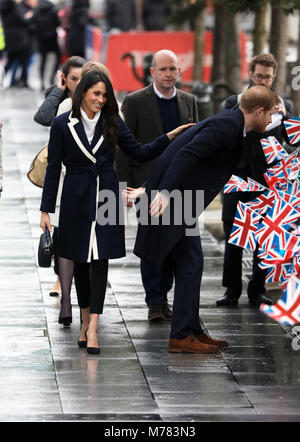 Birmingham, UK. 08th Mar, 2018. Prince Harry and Ms. Meghan Markle arrive at Millennium Point in Birmingham, on - Stock Photo