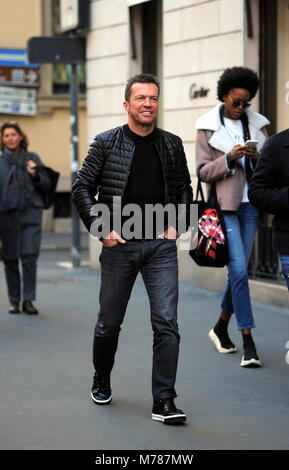 Milan, Lothar Matthaus at lunch in a restaurant in the center with a friend Lothar Matthaus, former champion of - Stock Photo