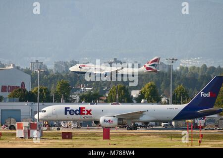 Aug. 17, 2011 - Richmond, British Columbia, Canada - Vancouver International Airport action: as a Federal Express - Stock Photo