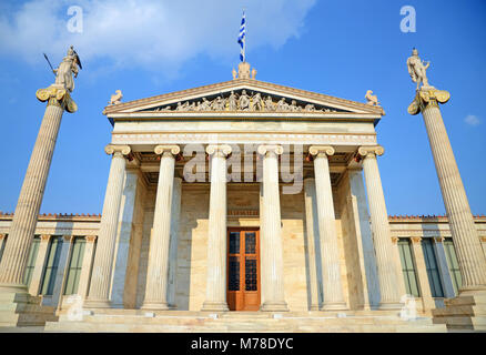 Akadimia, Athens / Greece - February 27, 2011: Frontal view of the Academy of Athens, Greece - Stock Photo