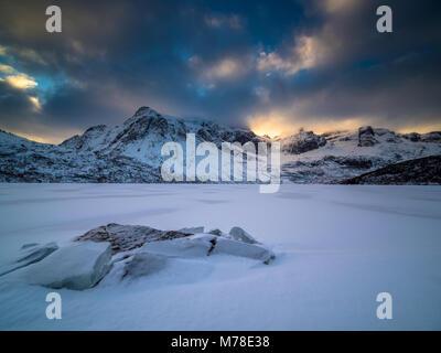 Winter scene from Lofoten Norway - Stock Photo
