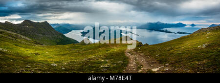 Panorama view of Gildeskål and Meløy. - Stock Photo