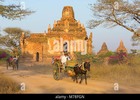 Tourists taking a horse and cart ride past temples stupas in the evening sunlight at Bagan, Myanmar (Burma), Asia - Stock Photo