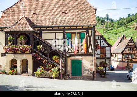 Town hall of Niedermorschwihr, a typical alsatian village with old timbered houses and narrow streets, surrounded - Stock Photo