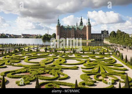 Frederiksborg Slot Castle and the Baroque garden, Hillerod, Zealand, Denmark, Scandinavia, Europe - Stock Photo