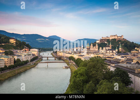 View of Salzach River and Hohensalzburg Castle above The Old City, Salzburg, Austria, Europe - Stock Photo