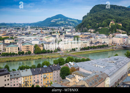 View of Salzach River with The Old City to the right and the New City to the left, Salzburg, Austria, Europe - Stock Photo