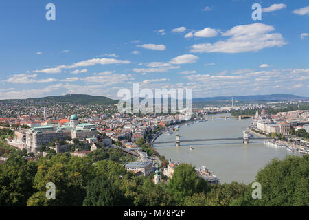 View from Gellert Hill to Buda Castle, Danube River and Parliament, Budapest, Hungary, Europe - Stock Photo