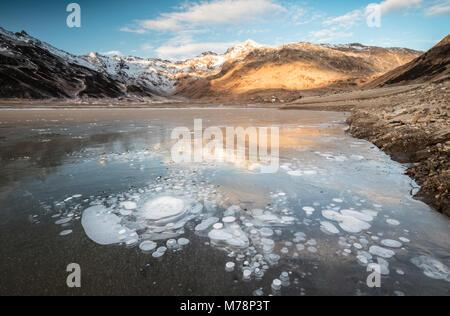 Ice bubbles, Montespluga, Chiavenna Valley, Sondrio province, Valtellina, Lombardy, Italy, Europe - Stock Photo