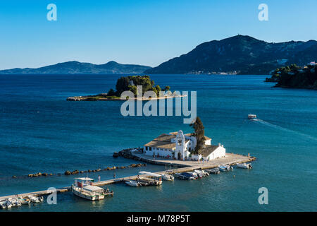 Vlacherna Monastery, Kanoni, Corfu, Ionian Islands, Greek Islands, Greece, Europe - Stock Photo