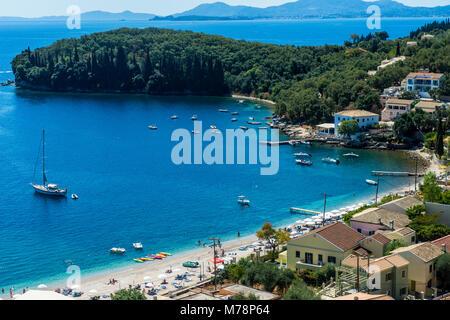 Overlook over the bay of Kalami, Corfu, Ionian Islands, Greek Islands, Greece, Europe - Stock Photo