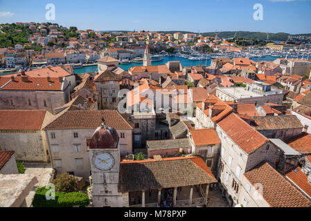 View from the bell tower, Cathedral of St. Lawrence, Trogir Old Town, UNESCO World Heritage Site, Croatia, Europe - Stock Photo