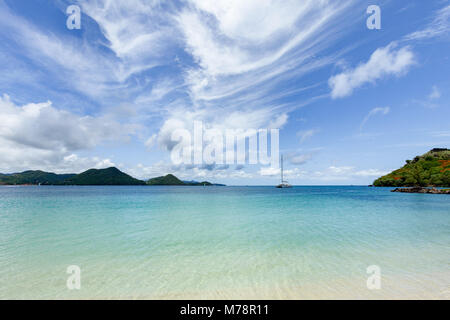 The beautiful clear water at Rodney Bay, St. Lucia, Windward Islands, West Indies Caribbean, Central America - Stock Photo